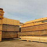 dřevomateriál v areálu firmy